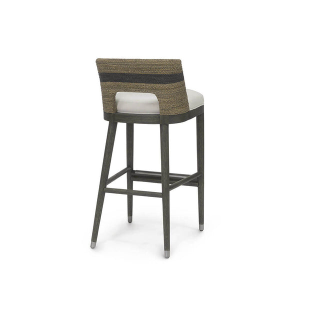Back of the bar stool with hardwood legs and seat covered in hand-twisted lampakanai rope in a grey finish with a black stripe detail.