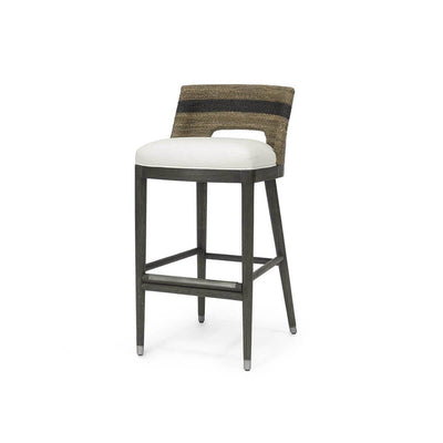 The Apia Barstool has a hardwood frame and legs in a grey pewter finish and hand-twisted lampakanai rope back seat with grey finish and black stripe detail.