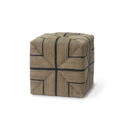 The Carrizozo Ottoman is made of hand-twisted lampakanai rope in a grey with black stripe finish.
