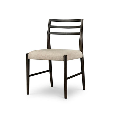 The Grandor Dining Chair is a modern ladder back chair with a carbon finished frame and cotton-linen blend seat cushion.