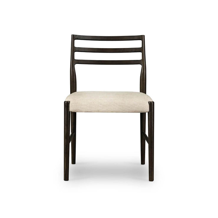 Modern dining room chair with a dark brown ladderback frame and light linen seat.