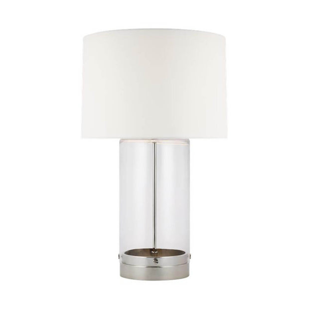The Bilbao Table Lamp with nickel details and a clear glass cylindrical base.