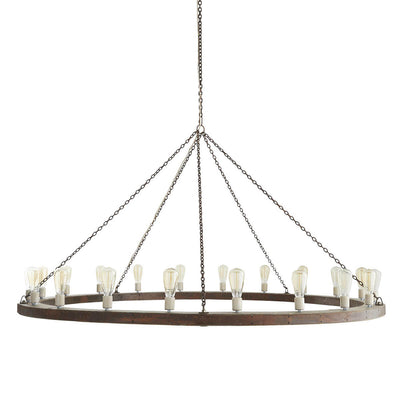 Oversized dining room pendant with wooden ring and evenly spaced bulbs with a medieval look.