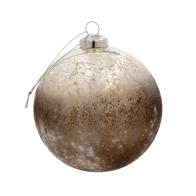 The Gold Dust Ornament is a gold coloured round ornament with a patina pattern.
