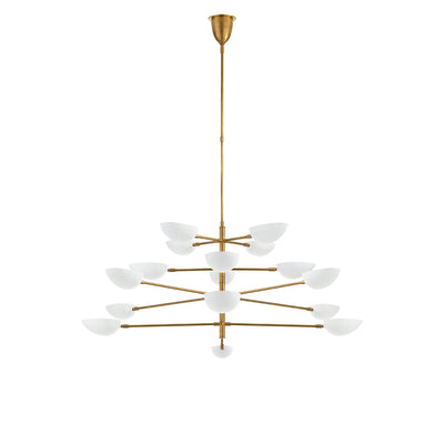 The Graphic Grande Multi-Tier Chandelier has a rod stem and tiered arms in a hand-rubbed antique brass finish and has sixteen lights with white glass, pedal shaped shades.