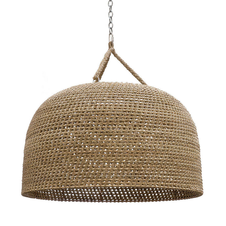 Mambal Oversized Pendant. Oversized natural woven rattan pendant light with a braided rope hanger.