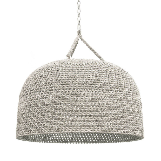 Mambal Oversized Pendant. Oversized white, woven rattan pendant light with a braided rope hanger.