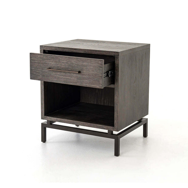 Drawer open on the classic bedside table with a single drawer and floating metal legs.