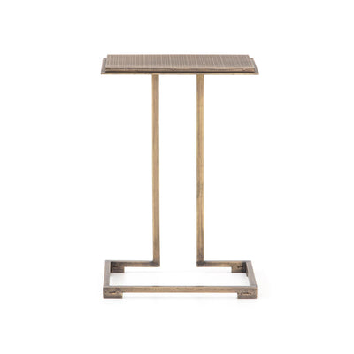 Habitas side table in antique brass with acid etching.