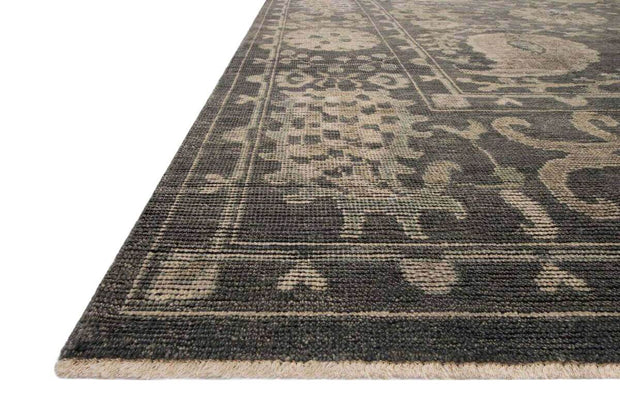 Patterned Rosetta Taupe Rug. Traditional Serapi rug. Dark taupe hand-knotted rug.