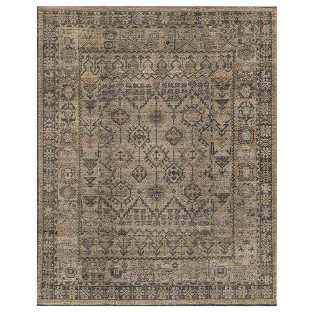 Rosetta Bone / Charcoal Rug. Brown and grey rug. Vintage inspired rug.