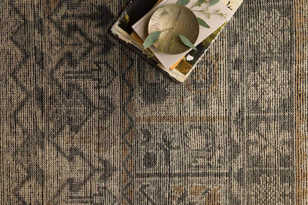 Traditional Serapi pattern rug. Rosetta Bone / Charcoal Rug. Vintage inspired brown and grey rug.