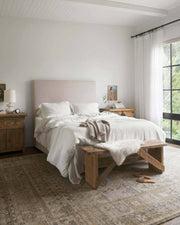 Rosetta Bone / Charcoal Rug in a bedroom. Brown and grey rug in a bedroom.