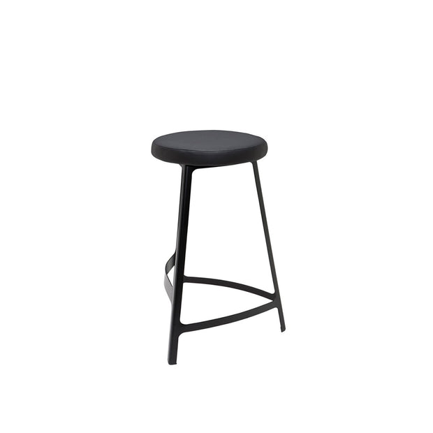 Modern counter stool with a matte black metal frame and naugahyde seat.