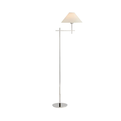 The Hackney Bridge Arm Floor Lamp has a thin, classy body in a polished nickel finish with an extended, adjustable bridge arm and round natural paper shade.