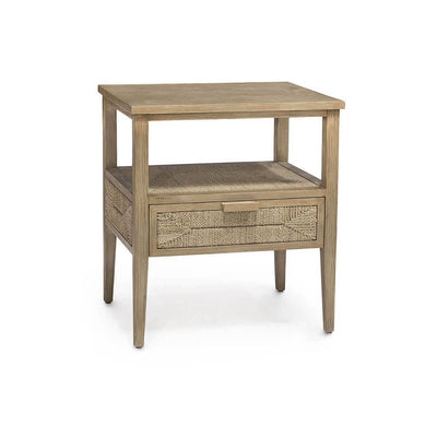 The Halawa Nightstand has a hardwood frame and legs and a single drawer with hand-woven natural lampakanai rope on the drawer front and top.