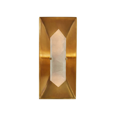 The Halcyon Rectangle Wall Sconce is a rectangular wall light that has a geometric, antique burnished brass backplate and a crystal light.