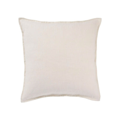 Coastal style, indoor throw pillow made of 100% linen in an ivory, white coloured removable cover.
