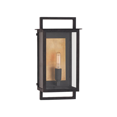 The Halle Wall Sconce is an updated lantern made from aged iron with a single bulb and contrasting colour backplate.