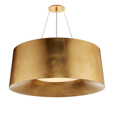 The Halo Hanging Shade has a bold drum shaped, gild shade with simple canopy and hanger attachment.