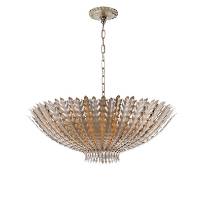 The Hampton Chandelier has a bowl shaped pendant light with burnished silver and brass leaf details and a delicate chain hanger.