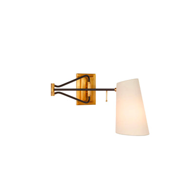Arm wall light. Hand aged brass with black. Linen shade.