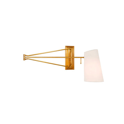Large Swing Arm wall light. Hand aged brass with a linen shade.