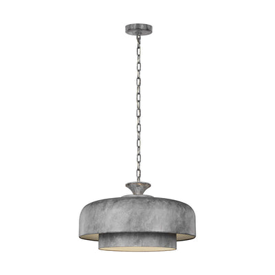Salisbury Large Pendant. Modern, industrial looking large pendant with a galvanized steel finish.