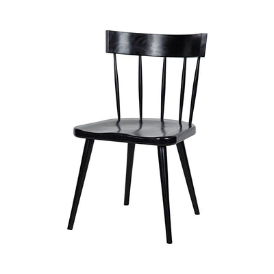 Classic dining room chair with a spindle back made in rubbed black mahogany.