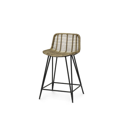 The Cochabamba Counter Stool has a black metal frame, hair pin legs, and natural rattan peel seat.