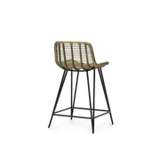 Back view of the counter stool with black hairpin legs and hand-wrapped rattan seat.