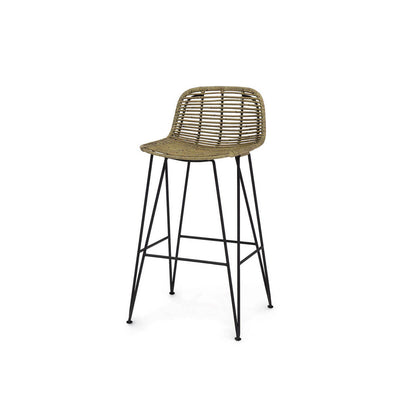The Cochabamba Bar Stool has a black metal frame, hair pin legs, and natural rattan peel seat.