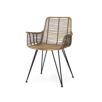 Rattan arm chair with a black metal frame and organic look.