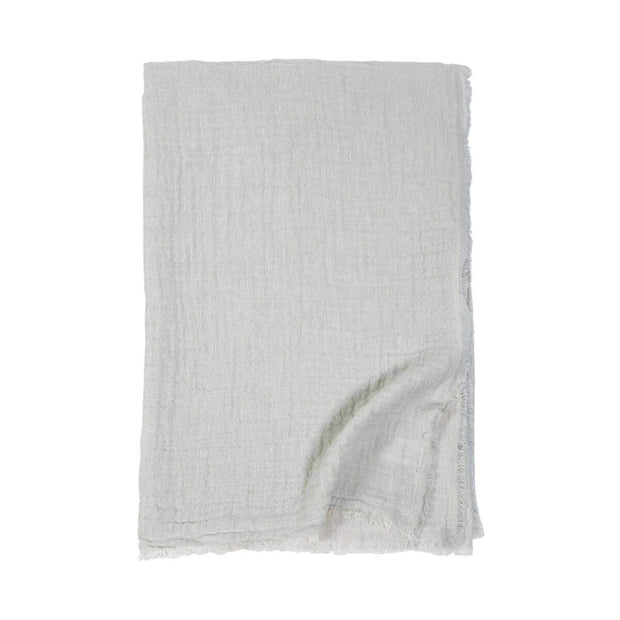 The double-sided Trento Oversized Throw in ocean and cream and made from cotton and linen.