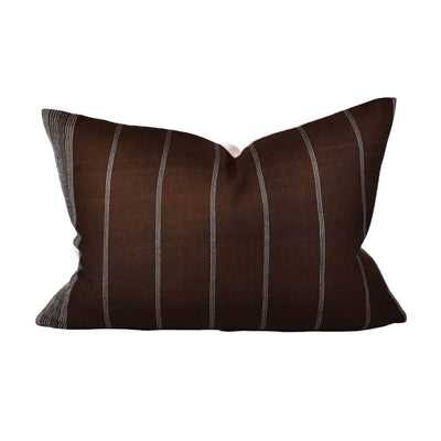 The Silk Bhujodi Pillow - Hickory is a dark brown with white striped pillow handmade from woven wool.