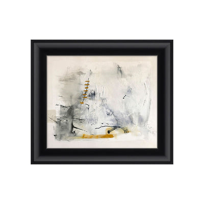 An abstract art pice with layered textures and grey tones that are contrasted with bold black streaks and golden yellow.
