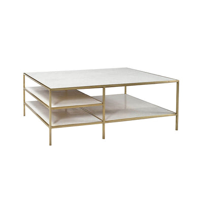 The Essen Coffee Table has a steel tube frame in an antique brass finish with multiple marble shelves and tabletop.