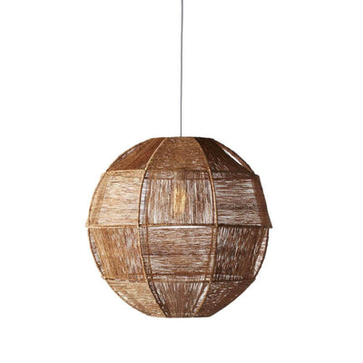 The Stirling Pendant has a geo-spherical shape, is wrapped in natural jute and has a mid century modern look.