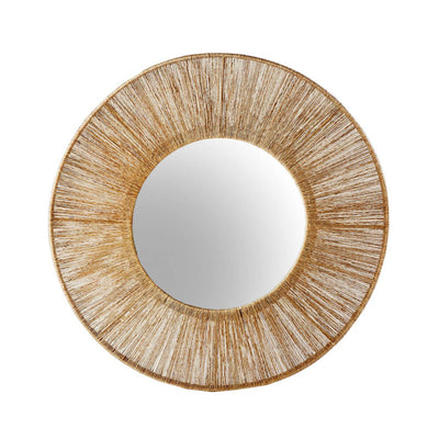 The Leticia Round Mirror is a circular statement mirror with twisted jute fibers over a light steel frame.