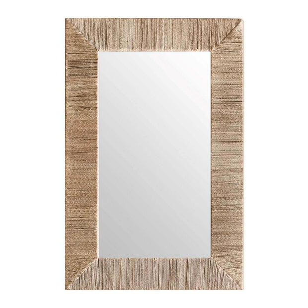 The Leticia Rectangular Mirror has a jute wrapped frame and a natural, organic look.