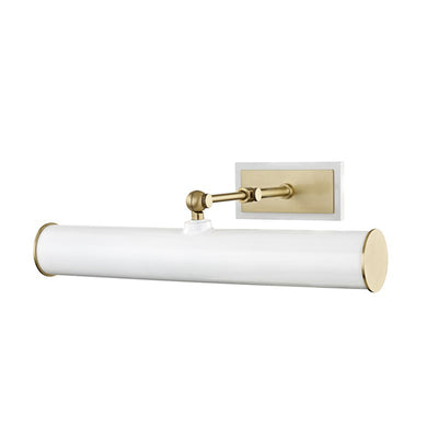 The Raleigh Picture Light in white and aged brass.