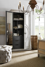 Vintage inspired wardrobe in a modern bedroom.