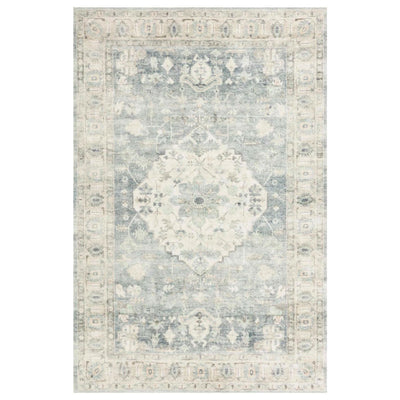 A beautiful rug made if 100% polyester with blue and ivory tones.