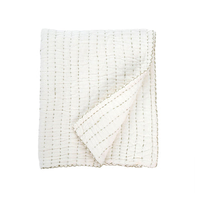 The Hopeland Quilted Throw is crafted of soft white cotton and quilted using olive toned stitching for a subtle quilted, texturall pattern.
