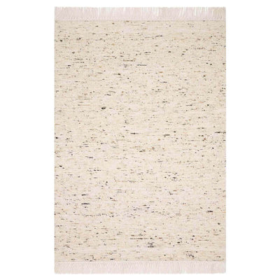 Nevada Ivory Rug. Heathered ivory coloured rug with fringe detail.