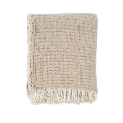 The Imperia Stitch Throw features a textural stitched weave and frayed edges adding a loved-in and cozy feeling to this throw.