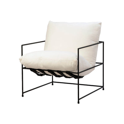 The Tavani Occasional Chair is a modern armchair with white upholstered cushions and slim, black frame.