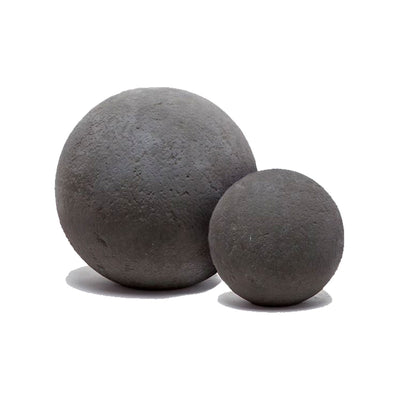 Reconstituted stone decorative spheres for outdoors or indoors.