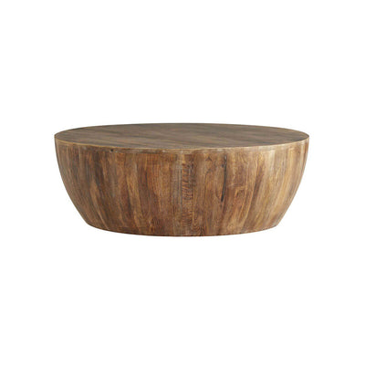 The Oswego Coffee Table is a round coffee table made from narrow wood slats in a tobacco wash finish.