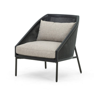 Rattan black and grey chair.
